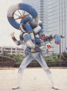 "A ""life-saving innertube"" monster created by Lord Zedd from Bulk and Skull's innertube that resembles a blue-and-white-painted Pipebrain. Tube Monster begins causing havoc in the city when a battle is being fought between the Rangers and Goo Fish, Pirantishead, Slippery Shark, and Commander Crayfish. The rest of the Rangers go into battle against the giant Tube Monster, while White Ranger remains behind to battle the other aquatic monsters. Tube Monster doesn't pose much of a challenge..."