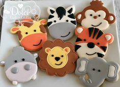 Jungle Safari Zoo Animal Elephant Monkey Tiger Lion Zebra Giraffe Hippo First Birthday Cookies - ***Please contact me prior to placing your order to be sure that I have availability for your date. Zebra Cookies, Tiger Cookies, Monkey Cookies, Baby Cookies, Baby Shower Cookies, Jungle Birthday Cakes, First Birthday Cookies, Safari Birthday Party, Animal Party