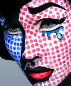 Lichtenstein make up- Looks like she popped out of a comic book!