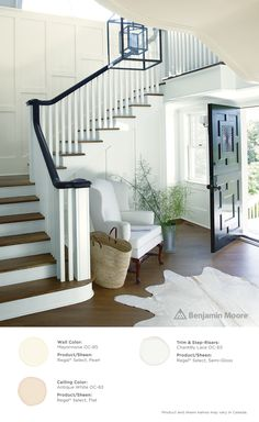 A gorgeous, clean entry. Walls: Mayonnaise OC-85 with Regal Select, Pearl finish; Ceiling: Antique White OC-83 in Regal Select, Flat finish; Trim & Step-Risers: Chantilly Lace OC-65 in Regal Select, Semi-gloss finish
