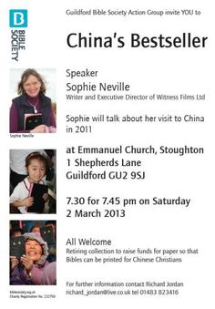 Bible Society poster featuring speaker Sophie Neville, for a talk held at Emmanuel Church, Staunton, Guildford, Surrey, UK