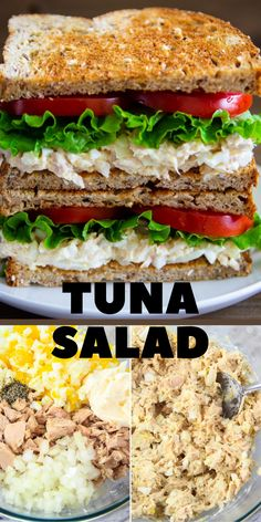 A classic tuna sandwich just got better with the addition of hard-boiled eggs, onion, lettuce, and tomatoes. Its the perfect back to school lunch. #tunasandwich #sandwich #lunch #schoollunch #Tunasalad Tuna Salad, Tuna Fish Salad