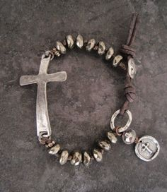 Sideways cross bracelet 'Small Sacrifice' pyrite , sterling silver , artisan wax seal , religious , rustic country boho