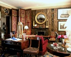17th Century Venetian textiles on the screen panels and the new stamped leather walls which are aged to look old.