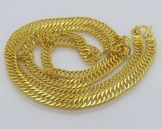 18 inches 2 mm 22kt Solid Gold Chain Necklace For men women   Etsy Thin Gold Chain, Gold Chains, Silver Chain Necklace, Men Necklace, Women's Earrings, Solid Gold, Necklace Lengths, Diamond Cuts, Cuban