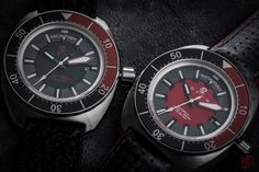 """Tribute to the Banana """"Red & Black"""" by CREPAS Watches. My two favourite summer watches for winter. #cronoforvm #cronotempvs #watches #wristshot #watchcollector #watchmaniac #equationdutemps #watchesbysjx #puristspro #hodinkee #independentwatchmaking #wristwatches #watchanish #watchjenny #luxurywatchlife #crepas #crepasbanana"""