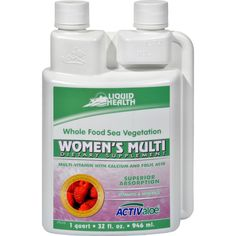 Liquid Health Womens Multi - 32 fl oz - Liquid Health Womens Multi Description: Multi-Vitamin with Calcium and Folic Acid Vitamin and Minerals ActivAloe 100% Vegetarian Womens Multi is an amazing blend of whole foods designed to provide the vitamins, minerals, trace minerals, and amino acids your body deserves, plus a blend of herbs used for womens health and extra calcium. The base of pure aloe vera juice is loaded with digestive enzymes. Sea vegetables - dubbed natures perfect food…