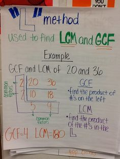 Mrs. White's 6th Grade Math Blog: The L method for finding GCF and LCM