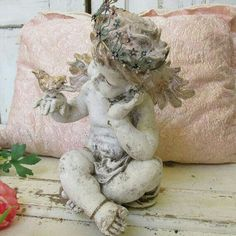 White angel statue pink gold bird and hair wearing vintage tiara jewelry shabby chic distressed sculpture home decor by anita spero White Angel, Angel Statues, Angel Art, Pink And Gold, Shabby Chic, Decoration, Artwork, Angel Wings, Roman Mythology