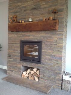Inset Contura wood burning stove with slate split face tiles and oak mantle. Inset Log Burners, Inset Stoves, White Wood Bedroom Furniture, Rustic Wood Furniture, Reclaimed Wood Shelves, Cnc Wood, Inset Fireplace, Brick Fireplaces, Wood Paneling Update