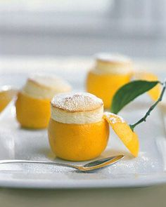 Little Lemon Souffles #recipe #food #lemon #eggs #flour #confectioners #sugar #dessert