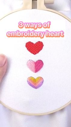 Hand Embroidery Patterns Free, Embroidery Hearts, Hand Embroidery Videos, Embroidery Stitches Tutorial, Embroidery Flowers Pattern, Simple Embroidery, Learn Embroidery, Hand Embroidery Stitches, Embroidery Techniques
