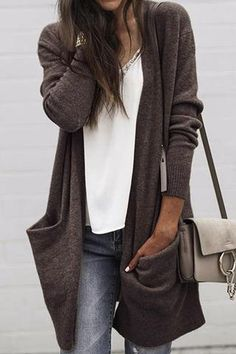 Latest fashion trends in women's Sweaters. Shop online for fashionable ladies' Sweaters at Floryday - your favourite high street store. Trend Fashion, Look Fashion, Latest Fashion Trends, Winter Fashion, Fashion Outfits, Womens Fashion, Fashion Lookbook, Fashion Clothes, 50 Fashion