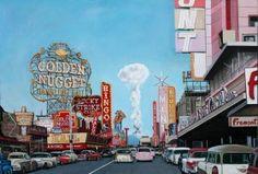 Las Vegas mushroom cloud - 1953 -bomb detonation was 75 miles away Nevada Test Site, Las Vegas, Nuclear Test, Nuclear Bomb, Mushroom Cloud, Atomic Age, Signs, Time Travel, Stuffed Mushrooms