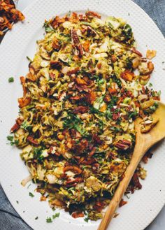 Brussels Sprout Salad with Coconut Bacon, via @Refinery29