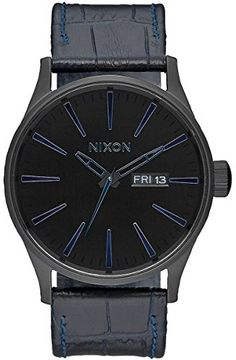 Navy Gator The Sentry Leather Watch by Nixon *** You can get more details by clicking on the image.