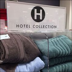 Everyday can be spa day if you shop this Hotel Collection Plush Spa Towel Display. The Acrylic shelves and dividers keep order while allowing visibility Towel Display, Spa Towels, Spa Day, Pos, Visual Merchandising, Close Up, Signage, Gift, Inspiration