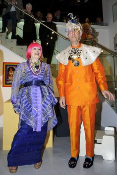 Zandra Rhodes and Andrew Logan Photos Photos - (L-R) Zandra Rhodes and Andrew Logan attend the private view of the POP! Exhibition at The Fashion and Textile Museum on July 5, 2012 in London, England. - Private View Of The POP! Exhibition