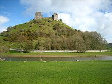 Dryslwyn Castle is a native Welsh castle, sited on a hill roughly halfway between Llandeilo and Carmarthen in Wales. It is notable inasmuch as it is the only native Welsh castle with three wards.
