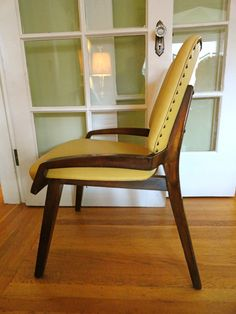 Set of Two Mid Century Butter Yellow Naugahyde Chairs: SOLD