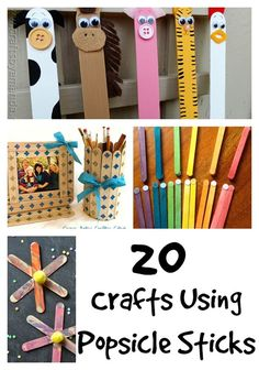 20 crafts using Popsicle sticks - puppets, plan markets, Christmas ornaments  more!