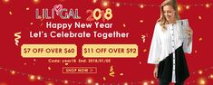 #Liligal #Happy #NewYear Lets #Celebrate Together $7 Off $60  And $11 Off Over $92  #fashion #women #halloween #dresses #fashionwear #carnival #shoping
