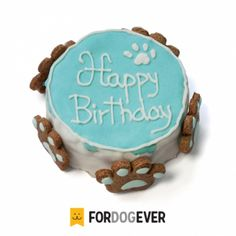Pastel para perros de Cumpleaños Personalizado - Zanahoria y Manzana Color Azul 300g