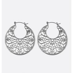 Avenue Filigree Hoop Earrings (£4.53) ❤ liked on Polyvore featuring jewelry, earrings, plus size, silver, fake earrings, silver jewellery, silver jewelry, silver filigree jewellery and filigree earrings