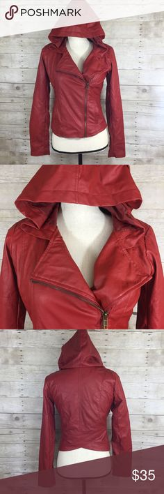 JACK by BB Dakota Red Faux Leather Hooded Jacket S NWT RED faux leather hooded jacket. Perfect for the biker chick! Has a cute cut style in back. Fitting to flatter your body! Jack by BB Dakota Jackets & Coats Blazers