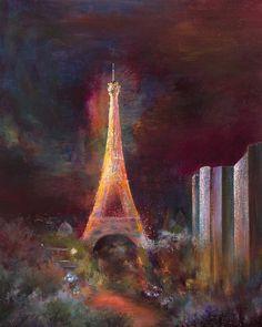 "Saatchi Online Artist: Rikka Ayasaki; Acrylic, 2012, Painting ""In my atelier, Eiffel tower 06 (65x54cm, Painted in 2012)"""