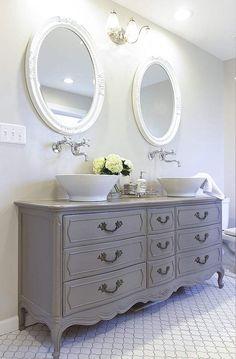 Bathroom decor, Bathroom decoration, Bathroom DIY and Crafts, Bathroom home design Dresser Vanity Bathroom, Vanity Sink, Bathroom Furniture, Bathroom Interior, Bathroom Cabinets, Bathroom Mirrors, Marble Bathrooms, Bath Vanities, Sink Faucets