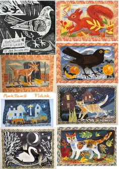 Angie Lewin and Mark Hearlds' Unique Collages at The Scottish Gallery. Angie Lewin, Collage Artwork, Naive Art, Autumn Art, Art Club, Whimsical Art, Art Plastique, Art Lessons, Art Projects