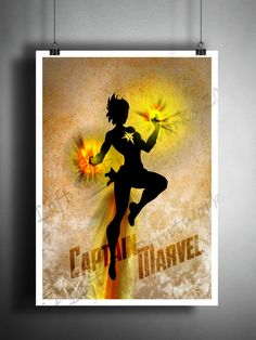 Captain Marvel art print, Super Hero pop art, Dictionary page art