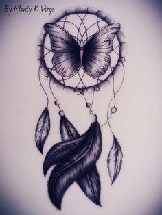 Butterfly Dream Catcher tatoo with added color Trendy Tattoos, New Tattoos, Body Art Tattoos, Tatoos, Thigh Tattoos, Skull Tattoos, Atrapasueños Tattoo, Tattoo Drawings, Tattoo Bird