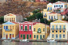 Traditionelle Häuser in Symi-Insel Griechenland Stockfotografie