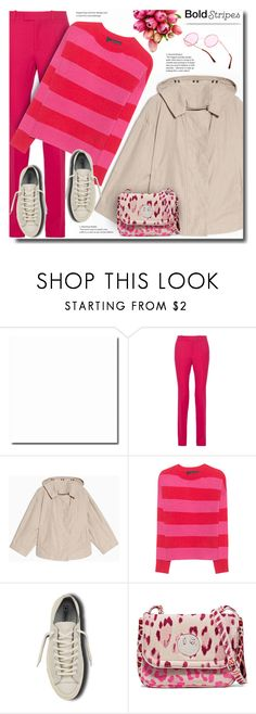 """think pink"" by bynoor ❤ liked on Polyvore featuring Gucci, Reception, Max&Co., 360 Sweater, Converse, Hill & Friends and BoldStripes"
