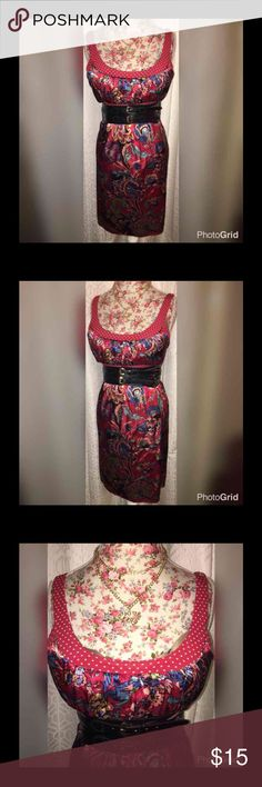 """VALENTINES DAY SPECIAL:DRESS/BELT/JEWELRY SZ LG VALENTINES SPECIAL!! FOREVER 21 RED FLORAL EMPIRE DRESS SZ LG AND 18""""ACROSS THE CHEST/21""""ACROSS THE WAIST/17""""UNDER BUST/29""""ACROSS THE HIPS AND 38""""FROM THE SHOULDERS!! NEW CORSET ELASTIC BELT:4""""IN THE FRT/3""""IN BACK & 33""""-41"""" LONG! 2 TIER NECKLACE LOVE&RHINESTONE HEART/3 PAIRS OF EARRINGS AND PERFECT FOR DATE NIGHT!! Forever 21 Dresses Midi"""
