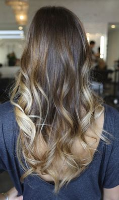 Hair Color & Style: Brunette with Baby Blonde highlights. Long and wavy. Very nice!  @Stephanie Close Close Alfrey I may need to try.. ? @Kayla Barkett O'donnell Alfrey I think we should!!!