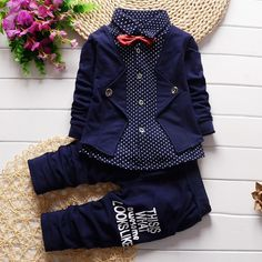 BibiCola Spring Autumn Baby Boy girls Clothing Sets children Bow tie T-shirts +pants kids cotton cardigan 2 pc suit sport suit - Kid Shop Global - Kids & Baby Shop Online - baby & kids clothing, toys for baby & kid Baby Outfits, Outfits Niños, Toddler Outfits, Kids Outfits, Newborn Outfits, Spring Outfits, Baby Boy Fashion, Kids Fashion, Style Fashion