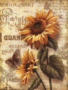 Vintage Cards, Vintage Paper, Vintage Images, Sunflower Pictures, Sunflower Art, Sunflower Quotes, Sunflowers And Daisies, Decoupage Printables, Foto Transfer