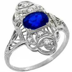 platinum sapphire  diamond ring 1