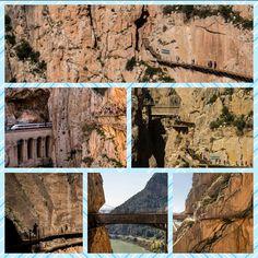 Caminito del Rey, Spain   DerCaminito del Rey(spanisch:Der Königspfad) ist ein vier Kilometer langer Klettersteigin der Nähe vonÁlorain der Provinz Málagaim SüdenSpaniens. Er führt in etwa 100 Meter Höhe entlang steiler Wände durch zwei bis zu 200 Meter tiefe schmale Schluchten und wird in der Presse als der gefährlichste Weg der Welt bezeichnet. Das Gebiet ist unterKletterernunter dem Namen El Chorroals ausgezeichnetes Winterklettergebiet bekannt.