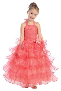 - Girls Dress Style Organza Multi Tiered Halter Dress with Beaded Bodice - Corals, Peaches, Oranges - Flower Girl Dress For Less Girls Pageant Dresses, Junior Bridesmaid Dresses, Little Girl Dresses, Flower Girl Dresses, Pageant Gowns, Organza Dress, Beaded Dresses, Dresses For Less, Dress P