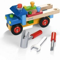 This chunky wooden truck from the French toy maker Janod is not only a truck that children can construct themselves, but it also a pull along toy as well as a mobile workbench with tools!