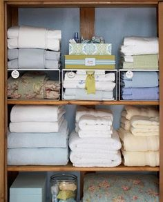 Organising your linen. Each day you should allocate one task to improve organisation. Start today by re-organising your linen closet.