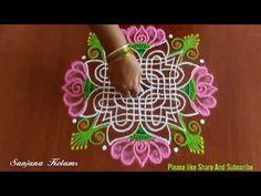Rangoli Borders, Rangoli Border Designs, Rangoli Designs Images, Beautiful Rangoli Designs, Rangoli Ideas, Rangoli Designs Diwali, Diwali Rangoli, Padi Kolam, Easy Youtube