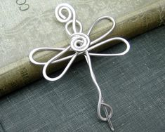 Sterling Silver Dragonfly Shawl Pin, Scarf Pin, Sweater Brooch - Dragonfly Accessories, Women, Knitting