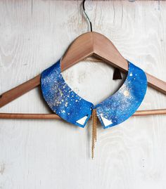 GALAXY leather collar necklace  hand painted by Tzunuum on Etsy, $40.00