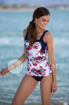 A perfect silhouette for any body shape. Built in foam bra cups with an under seam support and lifts small to large busts. Offering a wide supportive strap and two tone blocking design with printed bodice. Ruching is our secret that will hide, conceal and smooth any figure. Fully lined front and back. Product Fit + De Tankini Top, Body Shapes, Final Sale, Floral, Bodice, Swimwear, Model, Cups, Smooth