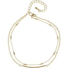 Humble Chic NY Chain Bar Anklet ($24) ❤ liked on Polyvore featuring jewelry, anklet charms, ankle bracelets, beach anklets, layered jewelry and gold tone jewelry